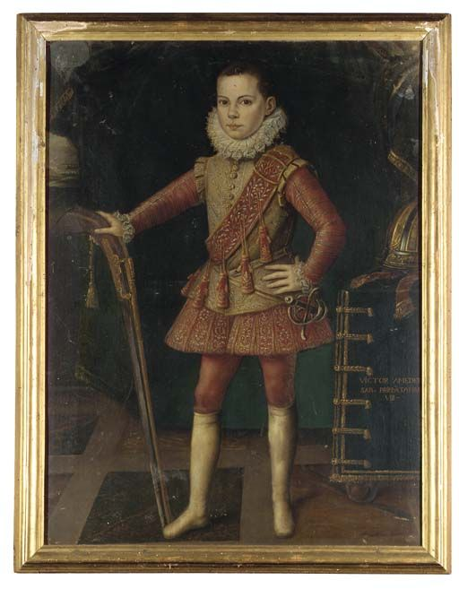 FOLLOWER OF JAN KRAEK, CALLED GIOVANNI CARACCA PORTRAIT OF VITTORIO AMEDEO I, DUKE OF SAVOY (1587-1637), AS A CHILD, FULL-LENGTH, IN A FAWN DOUBLET EMBROIDERED WITH GOLD AND SILVER AND RED HOSE, AN ARQUEBUS IN HIS RIGHT HAND AND HIS A HELMET ON A TABLE BESIDE HIM, A LANDSCAPE BEYOND. THE COLLECTION OF S.A.R. LA PRINCIPESSA REALE DI SAVOIA