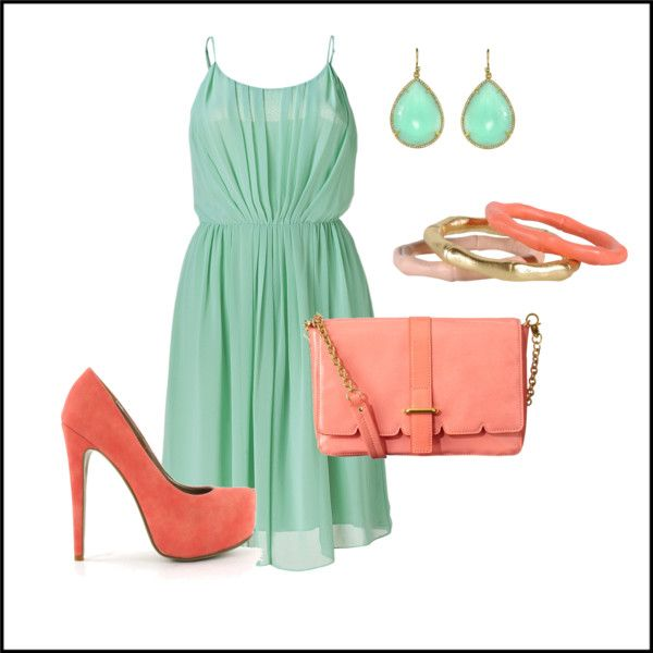 Coral Turquoise Wedding Colors Turquoise Clothes Outfits Mint Dress