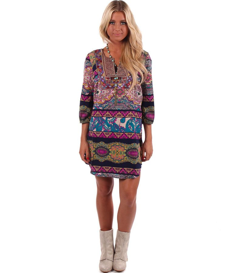 Lime Lush Boutique - Navy and Magenta Exotic Patterned Tunic, $58.99 (http://www.limelush.com/navy-and-magenta-exotic-patterned-tunic/)