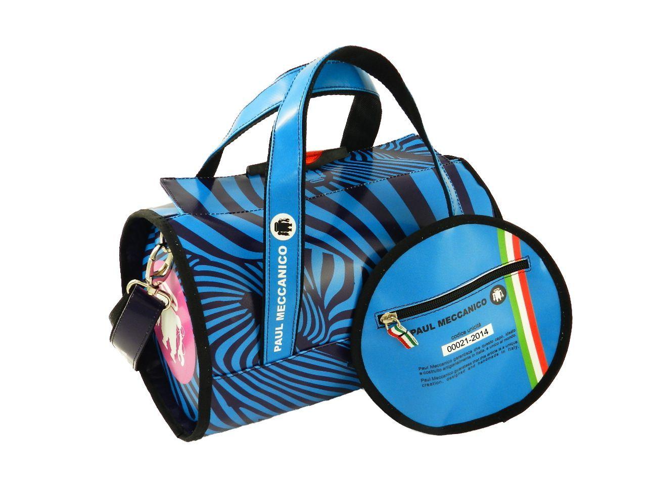 a96a174b65 Borsa bauletto Paul Meccanico azzurra fantasia zebrata.   MINI ...