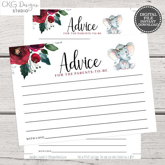Advice Cards Template Instant Download Baby Shower Games Mommy
