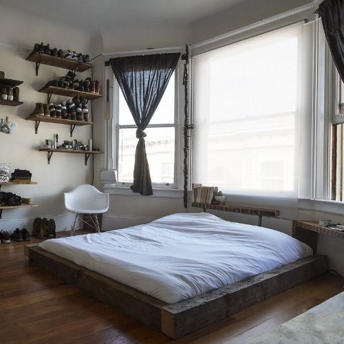 low and comfy beds, shelving Dorm Room Decorating Pinterest