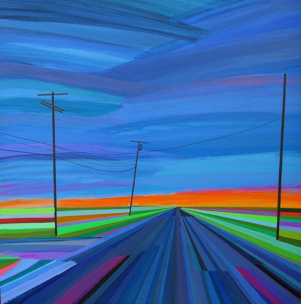 Estradas e pôr do sol technicolor neon por Grant Haffner;