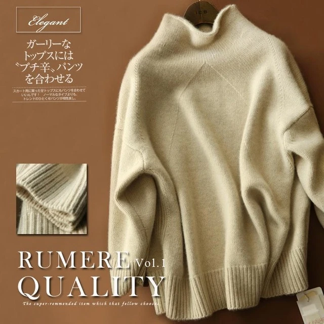 Women/'s 100/% Cashmere High-Neck Sweater Long Sleeve Knitwear Thick Coat Outwear