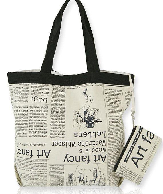 6388d82b6 Newspaper printed bag/Canvas bag/cotton bag/shopper bag/tote bag/shoulder  bag//school bag/eco bag/vintage eco bag/beach bag/tote bag