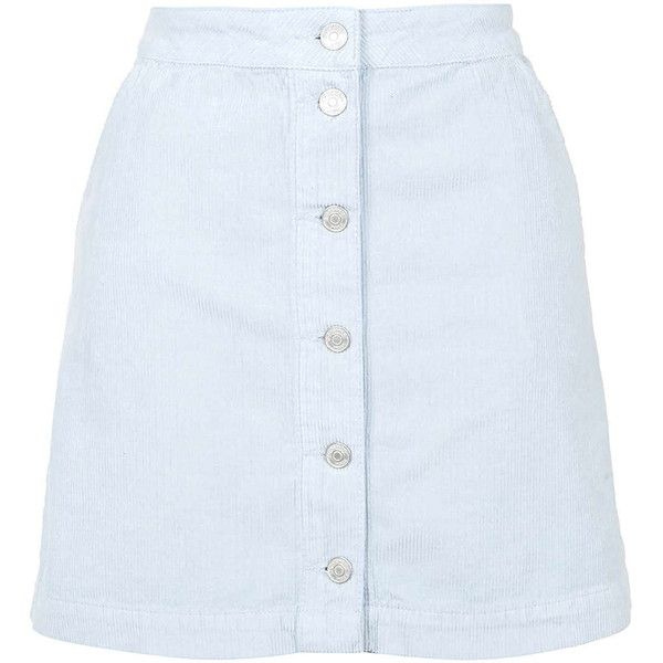 cd91db87880507 TOPSHOP MOTO Cord Button Front A-Line Skirt ($46) ❤ liked on Polyvore  featuring skirts, bottoms, baby blue, baby blue skirt, topshop, button  front skirt, ...