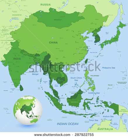 High Detail Map Of Far East Asia With A 3d Globe Centered On These