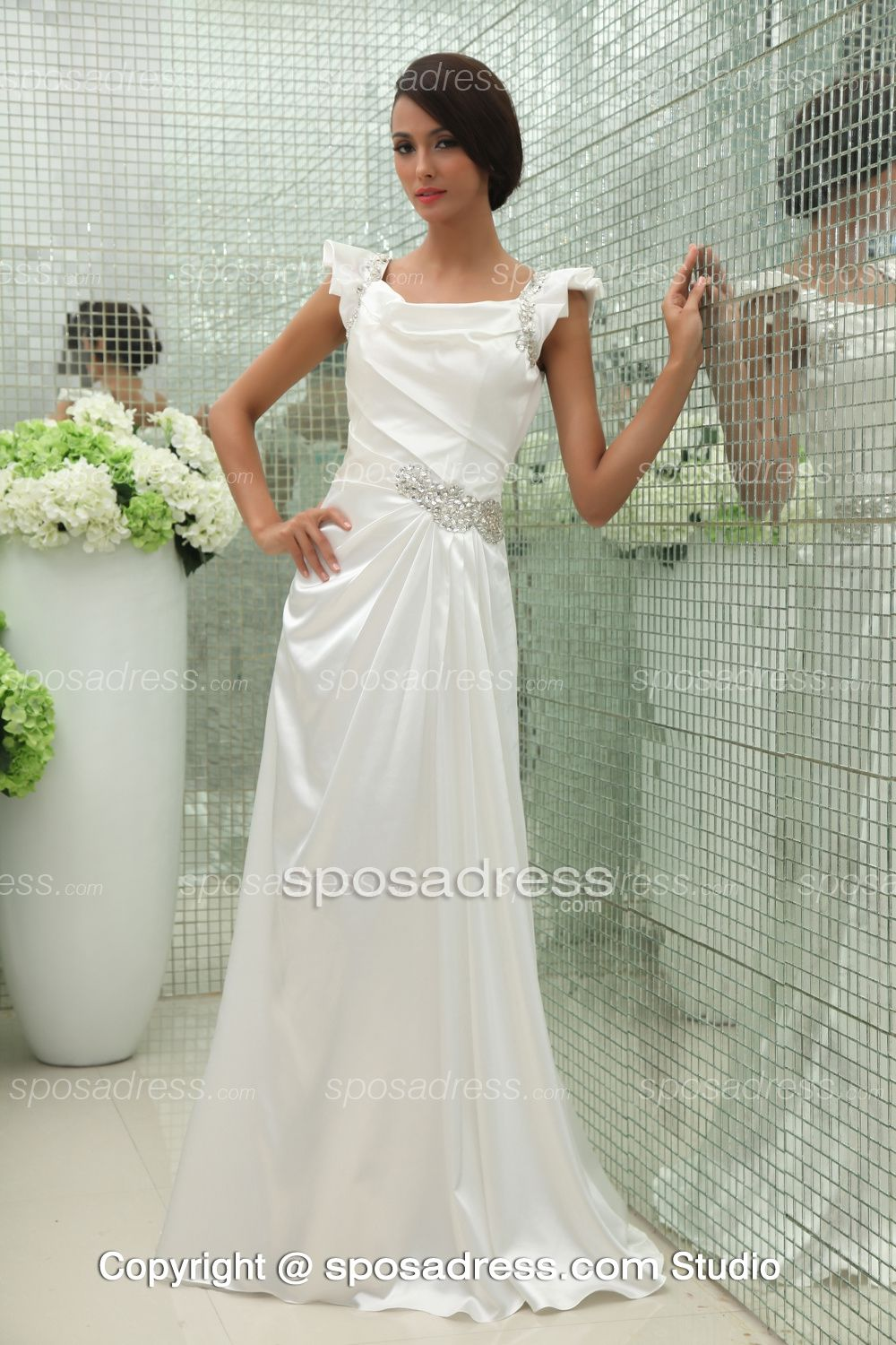 Fascinating Sleeveless White Beaded Long Summer Wedding Dress