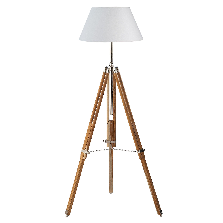 Lámpara de pie con trípode de madera y algodón blanco Al. 155 cm