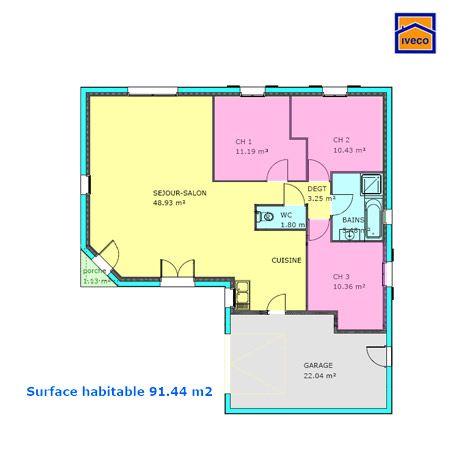 Plan Maison Plain Pied  Chambres  Plans    Plan Maison