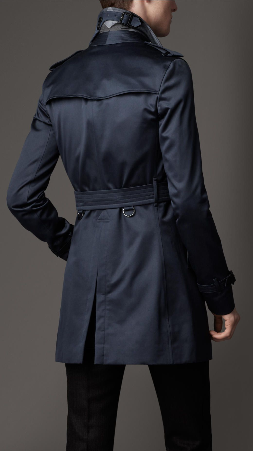 Burberry Blue Midlength Heritage Cotton Trench Coat Trench Coat Trench Coat Men Coat
