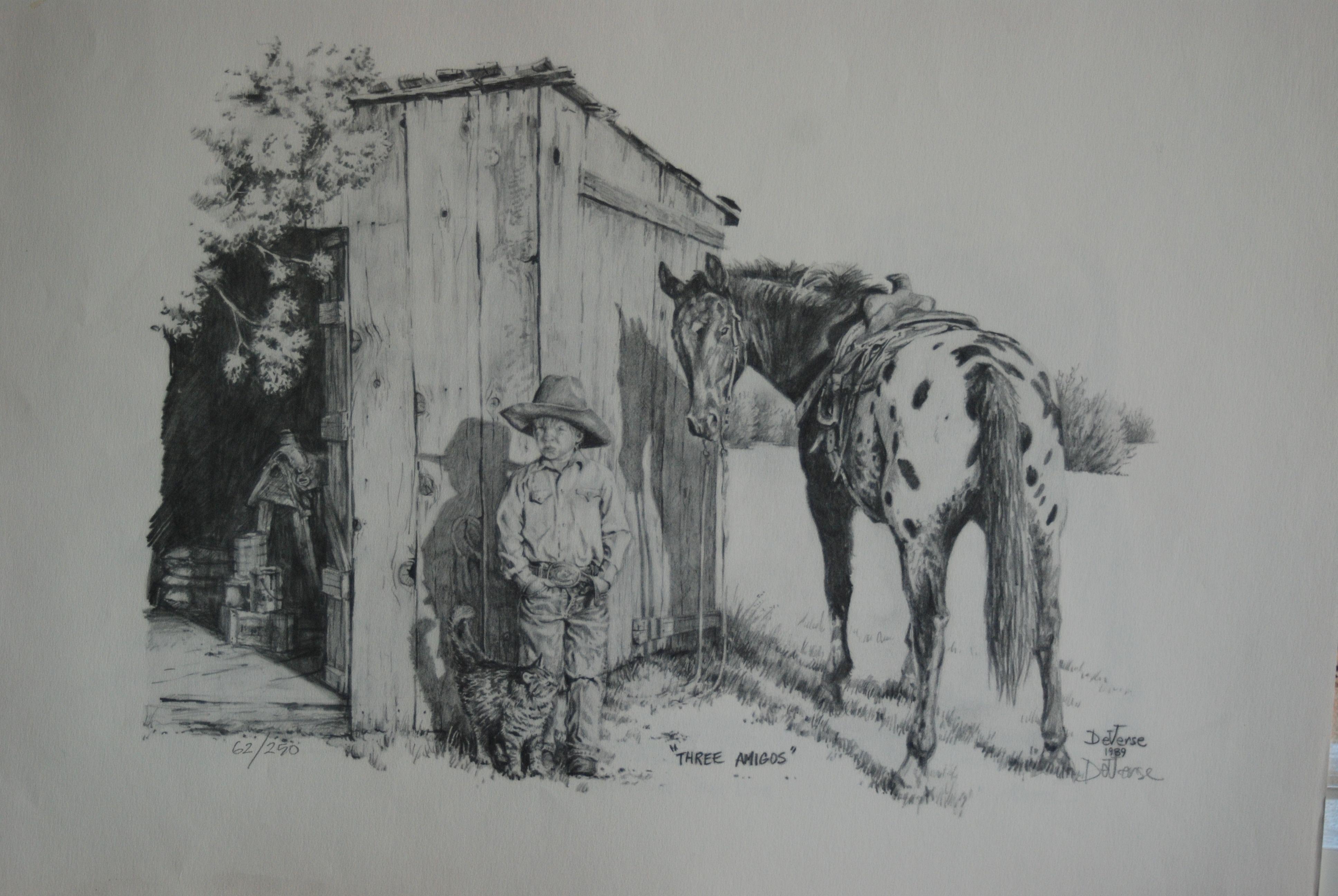 Western Pencil Drawing Landscape