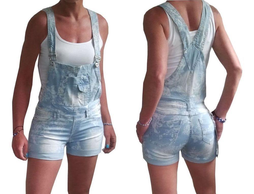 Find more on www.fashion-darling.de NEU Damen Latzshorts Blumen kurze Jeans Latzhose hellblau Overall 34 36 38 S M L