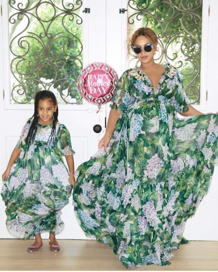 01846e7f0 Beyonce and Blue Ivy in matching floral chiffon Dolce & Gabbana maxi dresses  for Mothers Day