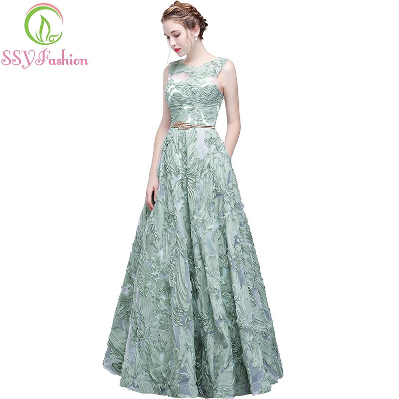 be5957ab5e3a2 The Banquet Elegant Evening Dress SSYFashion New Fresh Green Lace ...
