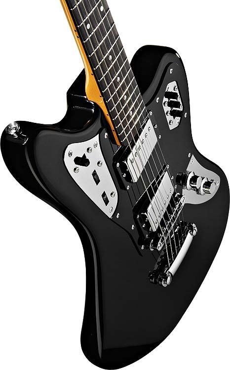 fender jaguar hh special edition electric guitar (black and chrome)