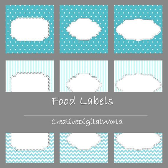 Three Different Labels Printable Personalized Baby Shower Food Labels Cards Custom Order Boy Blue White Polka Dots Zig Zag Stripes Baptism