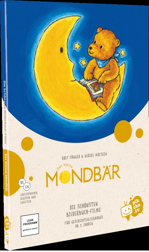 Der kleine Bär liebt den Mond über alles, aber der Mond ist viel zu weit weg. Da hat der kleine Bär eine Idee. Er fängt den Mond mit einem Lasso ein, nimmt ihn mit in seine Höhle und liest ihm eine Geschichte vor – so beginnt ihre große Freundschaft. Die sieben beliebtesten Mondbär-Geschichten auf einer Bilderbuch-DVD in der neuen Sonderedition von pikcha.tv!