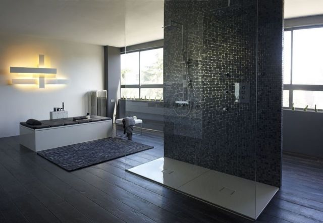 luxus-badezimmer-bodengleiche-dusche-glaswand-badewanne Badezimmer