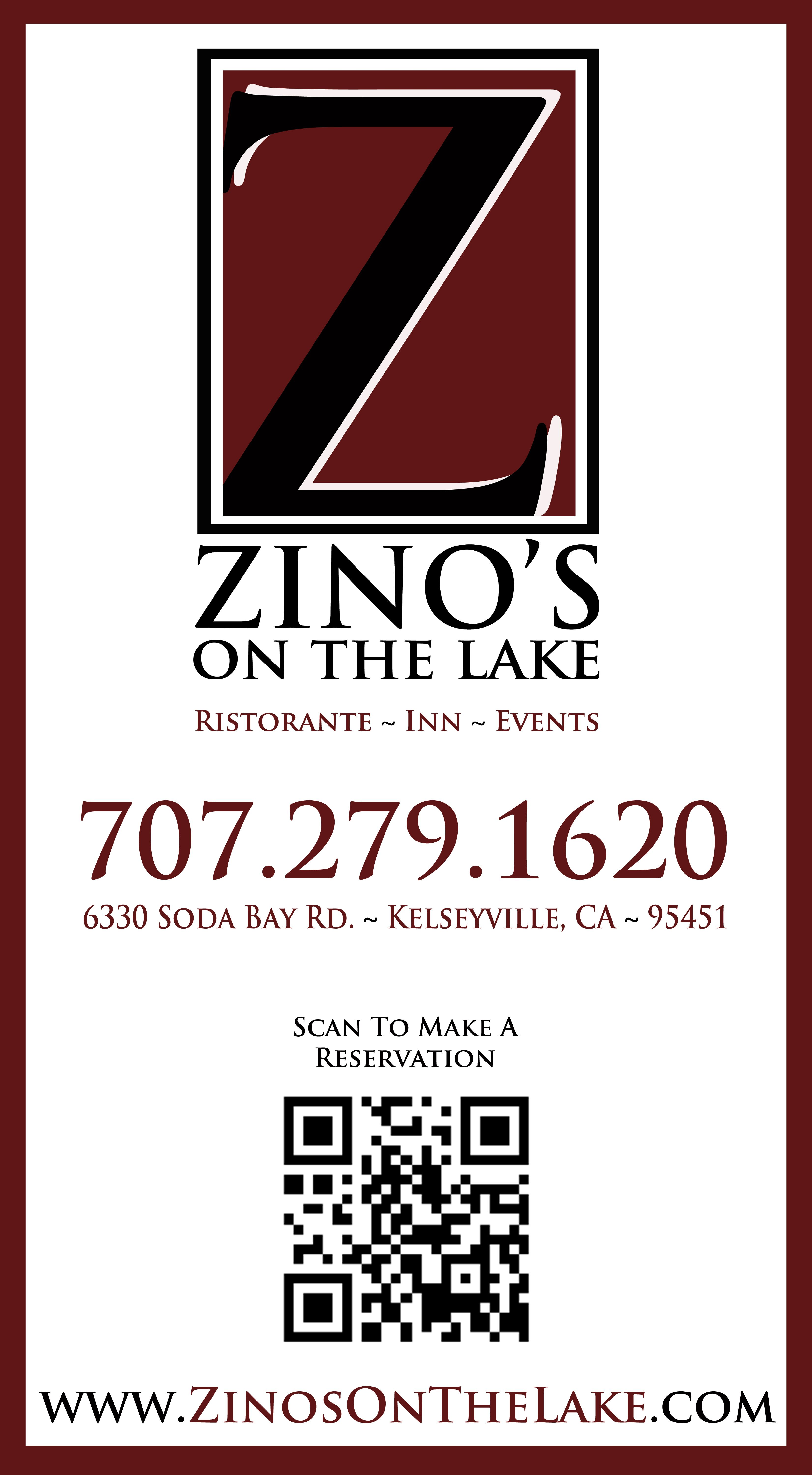 The NEW Business Card of Zino\'s On The Lake in Kelseyville ...