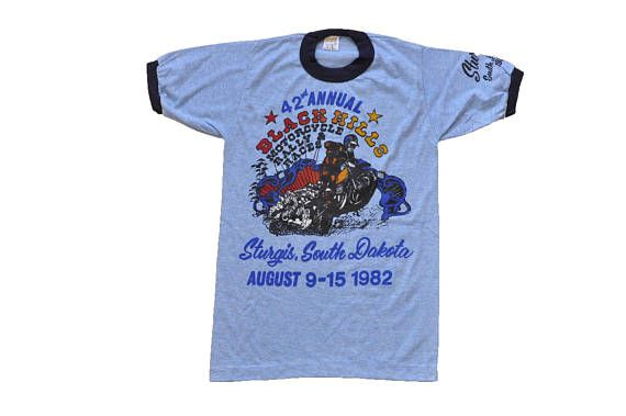 c74126d9d Vintage 1982 Black Hills Motorcycle Rally and Races Tee // S ...