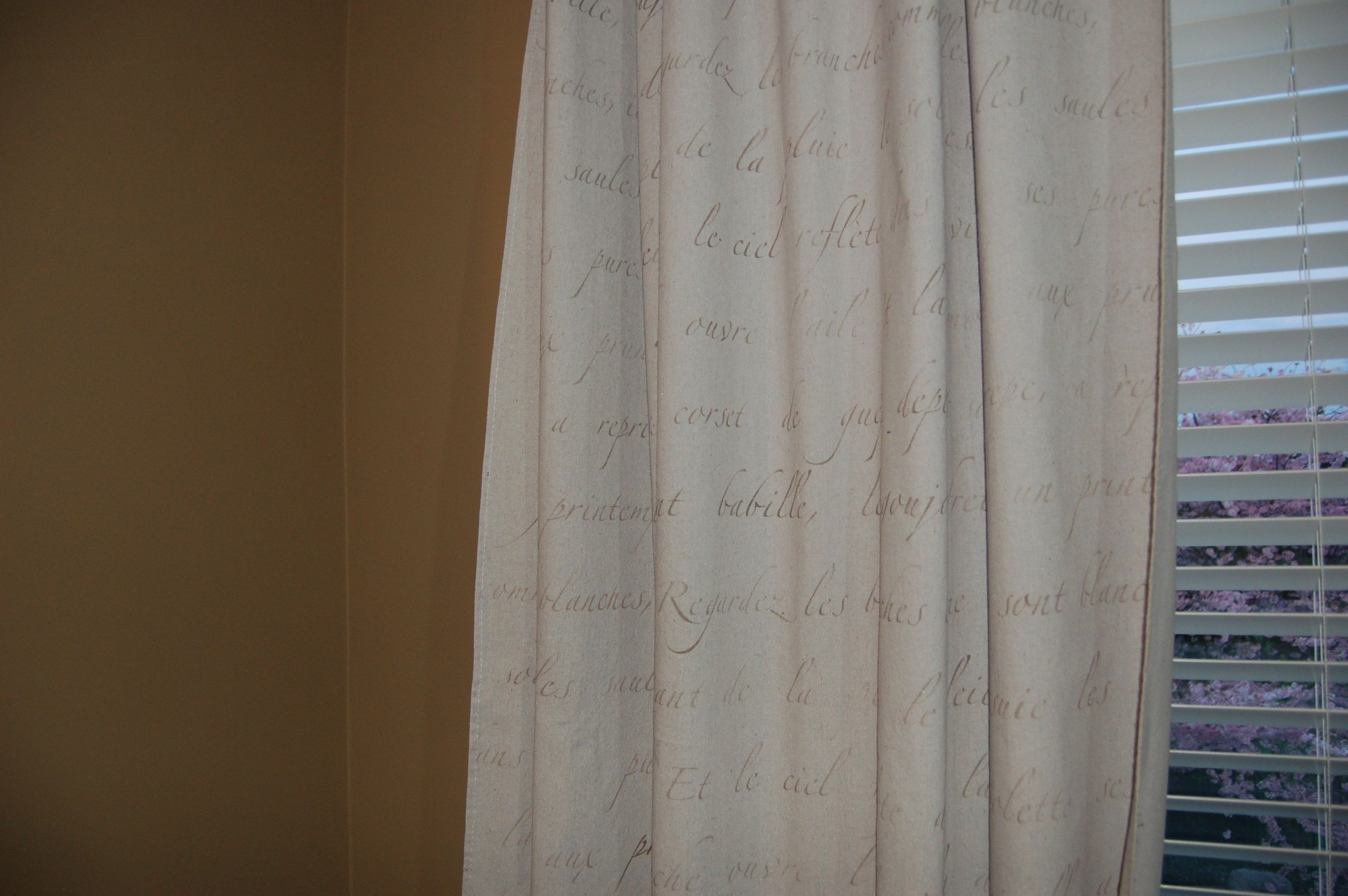 Drapes made with painters tarps and stenciled with Royal design Studios' Springtime in Paris
