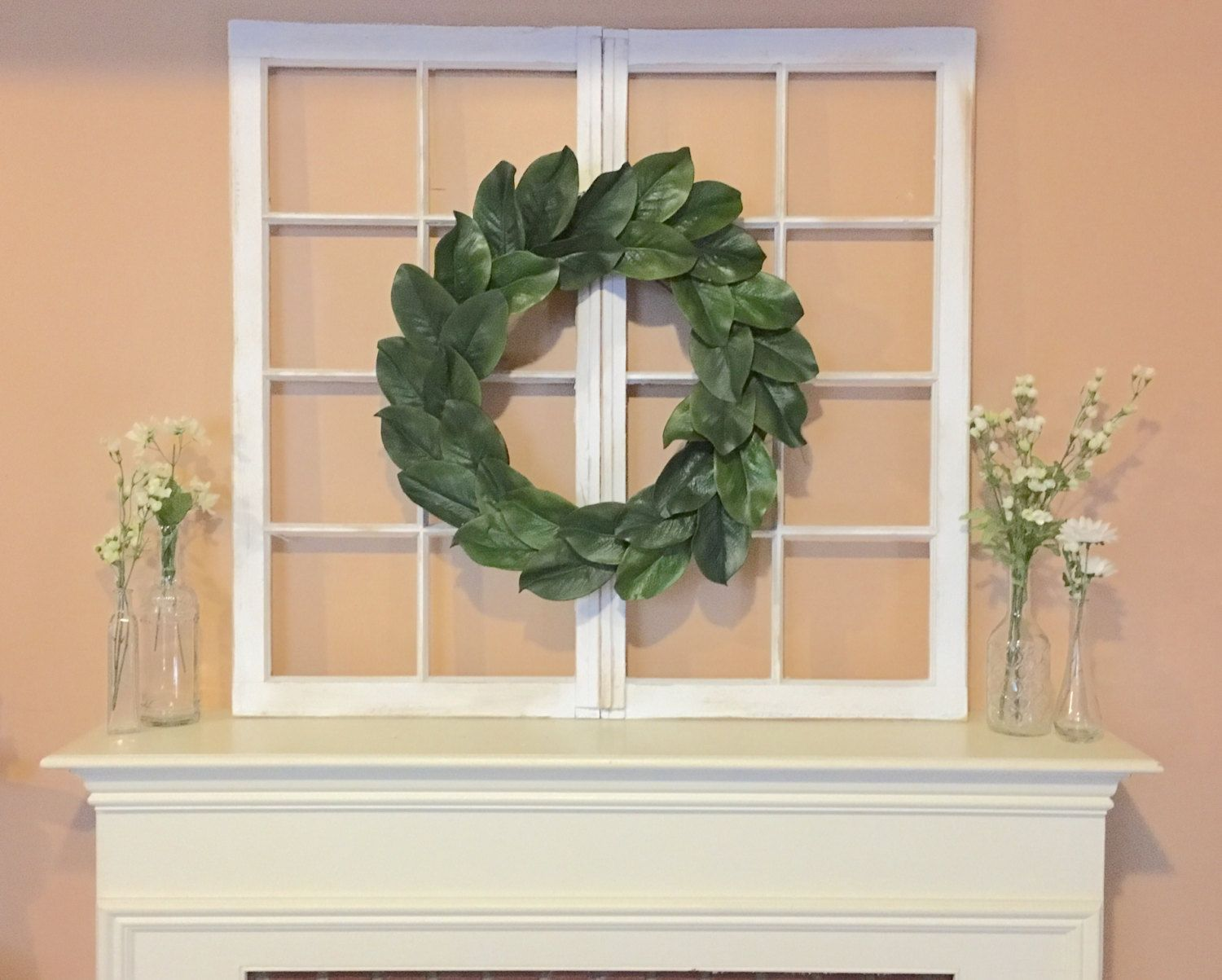 Old Vintage Window Decor With Magnolia Wreath Distressed White Frame Antique By Myrusticchicboutique On Etsy