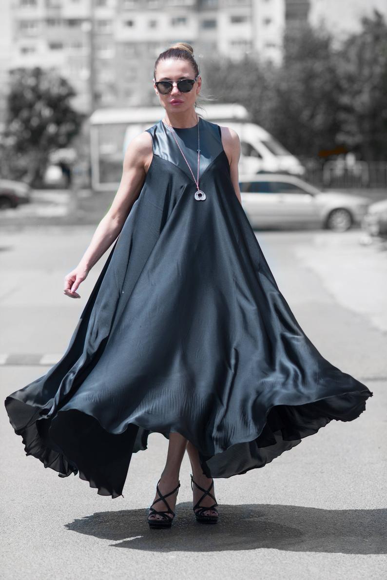 Schwarze Maxi Kleid/Satin Kaftan/Sommer Kleid/Party | Etsy ...