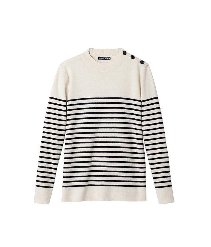 cc8d039056a Pull marin homme en tricot laine et coton à rayure marinière placée 125€