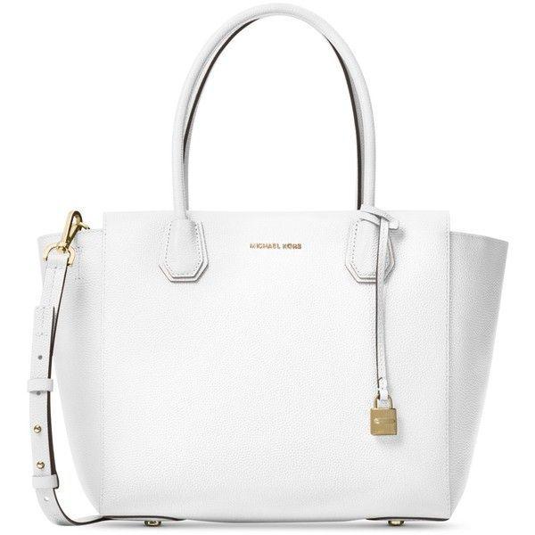eee7b317fba7 Michael Michael Kors Studio Mercer Large Satchel (£265) ❤ liked on Polyvore  featuring bags, handbags, optic white, white purse, white satchel handbags,  ...