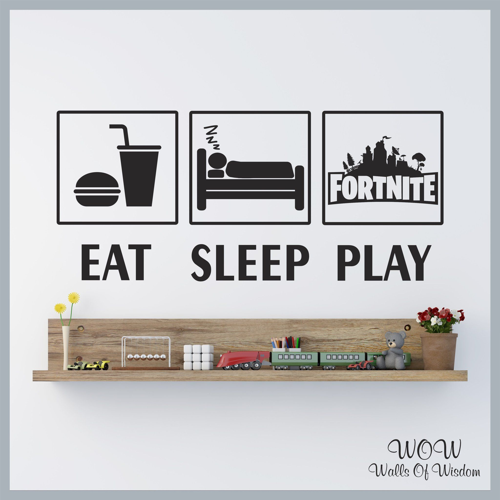 Free uk delivery wall stickers decals fortnite play gamer inspired walls of wisdom