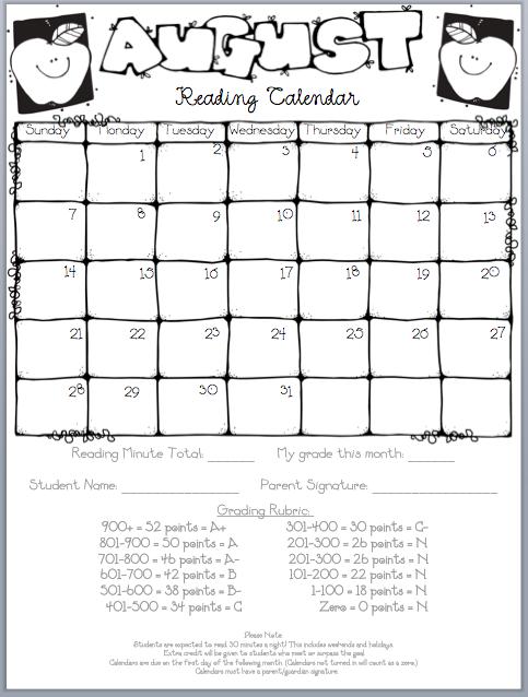 Blank Reading Calendar : Monthly reading homework log with rubric i like