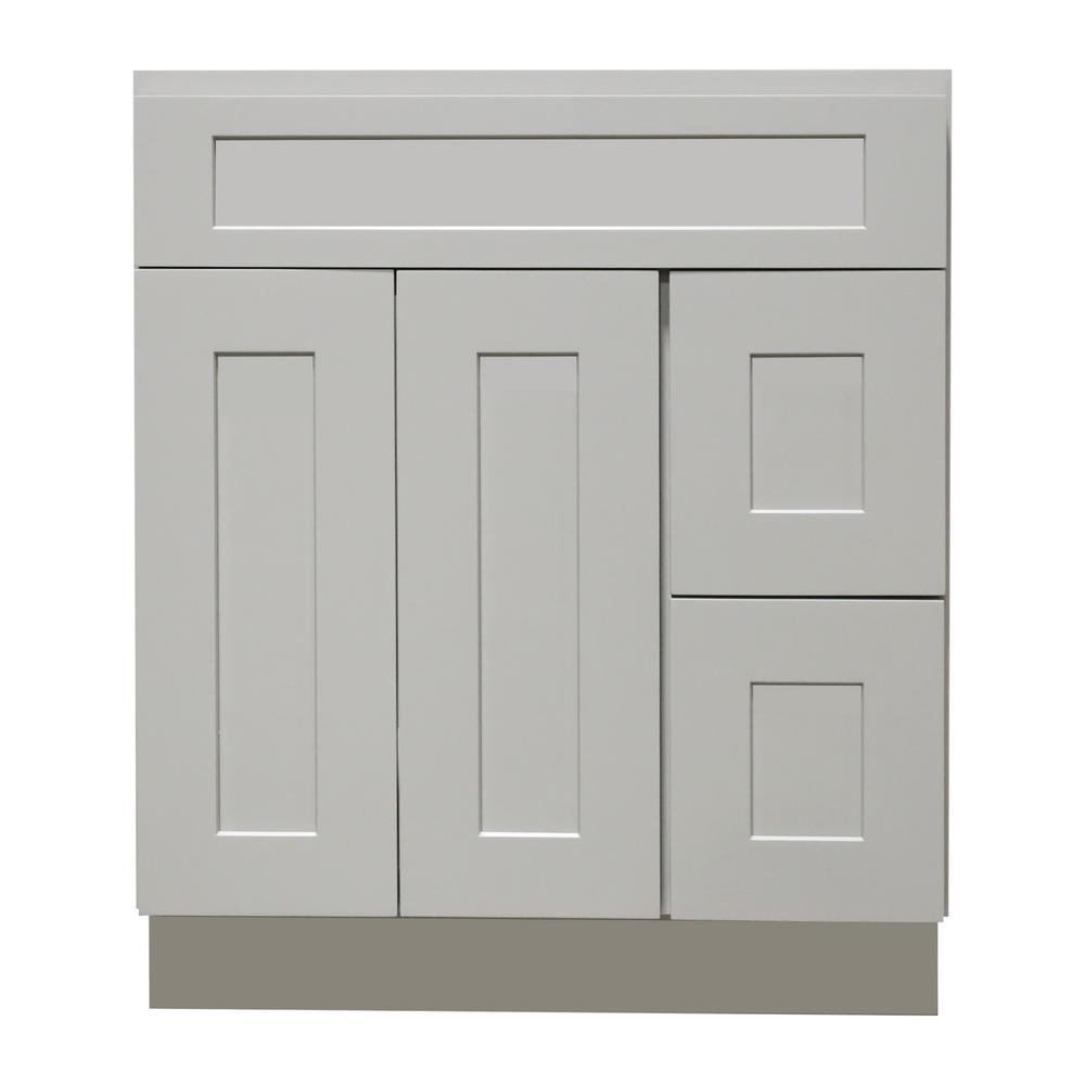 Plywell Ready To Assemble Shaker 42 In W X 21 In D X 34 5 In H Vanity Cabinet With 2 Doors And Drawers In Gray Sgxva422134dr The Home Depot Vanity Cabinet Grey Cabinets Feature Cabinets