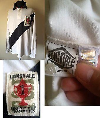 Maglia Polo Vintage Lonsdale Trikot Trophy Cup Shirt London Maillot Tg. XL (C18)