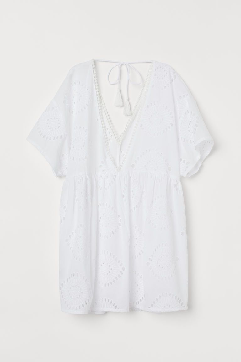 Cotton Beach Dress - White - Ladies | H&M US #crochetbeachdress
