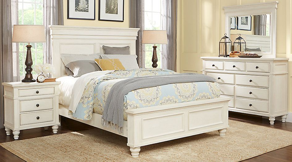 Bedroom Sets Queen, Lake Town Off White 3 Piece Queen Panel Bed With Storage
