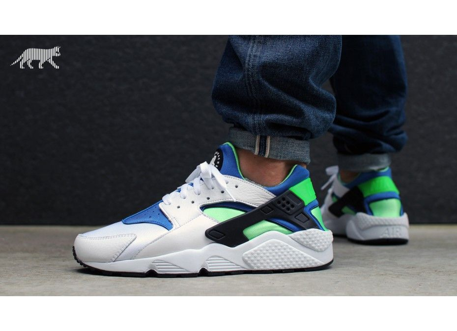 nike huarache blue green