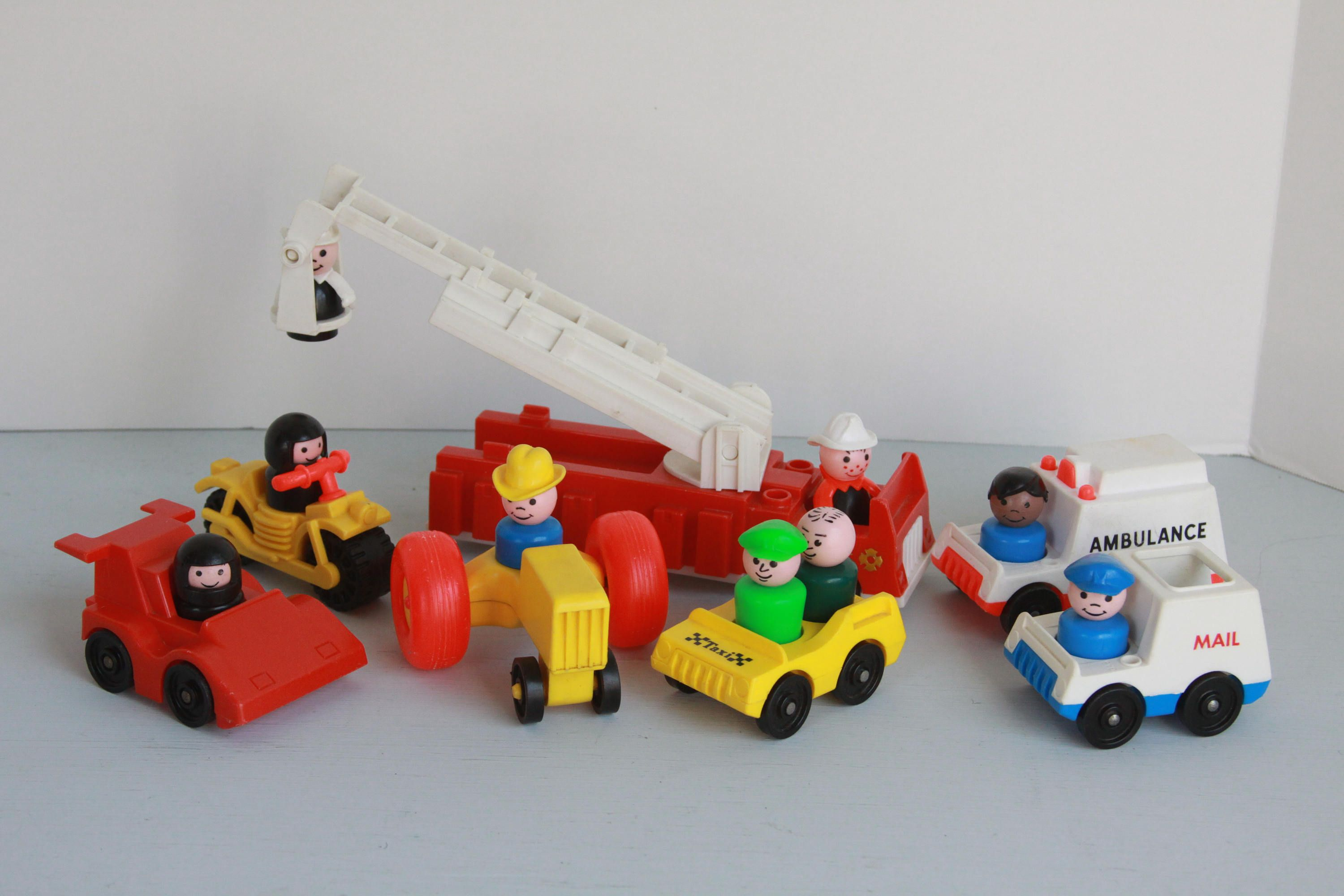Vintage Fisher Price Little People And Vehicle Collection Etsy Vintage Fisher Price Little People Mail Truck