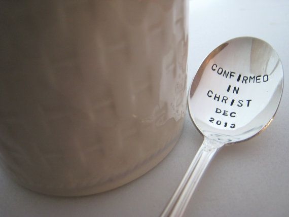 Confirmation Gift, Bible Passage, Gift for Christian, Hand Stamped Spoon, Handmade Gift for Teen, Vintage Gift