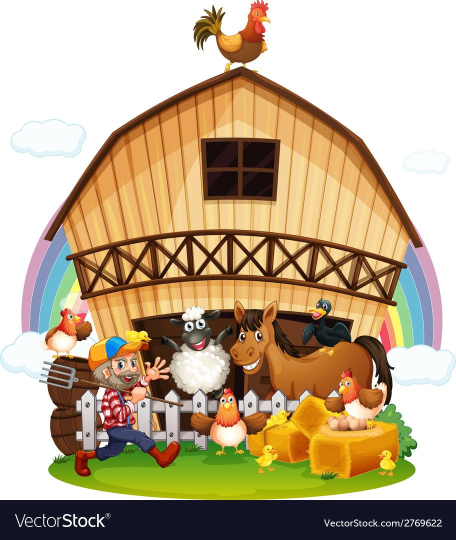a farm with farm animals on a white background. Download a