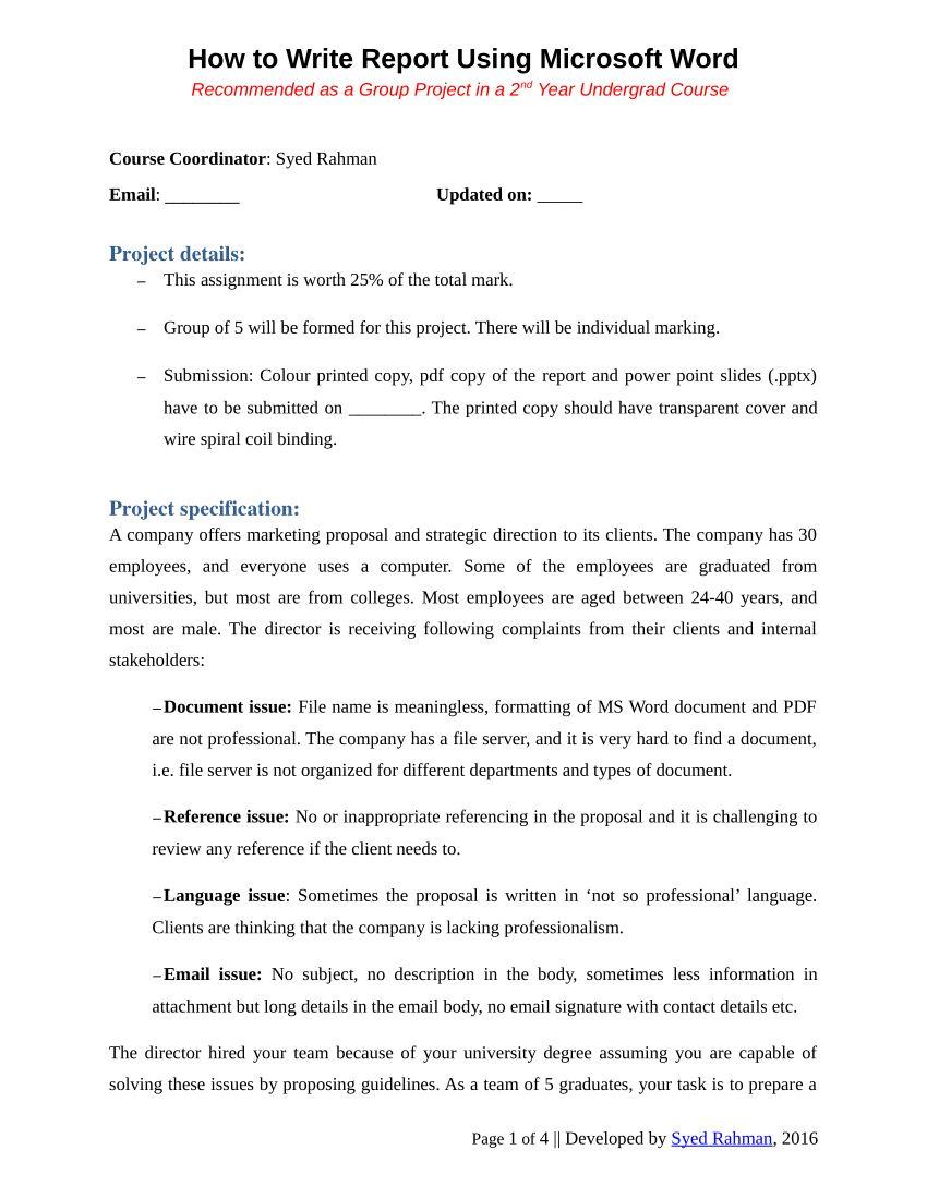 Pdf) How To Write A Report Assignment Template regarding