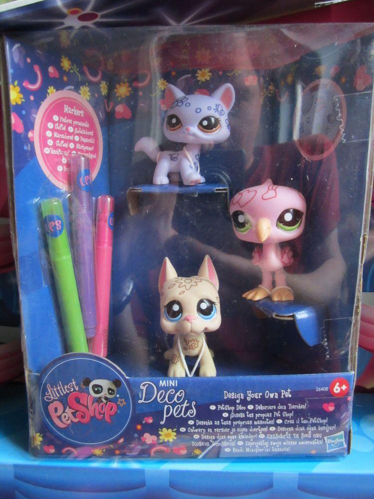 Littlest Pet Shop Dane Dog Purple Cat Pink Flamingo Deco Pets