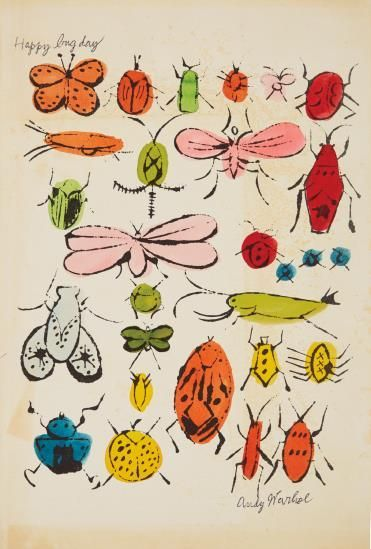 Happy Bug Day - Andy Warhol - Offset Lithograph with Hand-Coloring - ca. 1954 #andywarhol