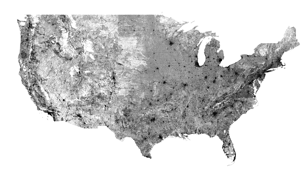 Map Of All Roads In Us One giant map featuring every road in America | Amazing maps