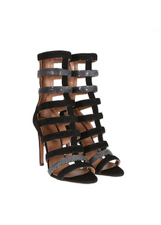 1 Cassie's Miami G 5ive Gentlemen's Club Azzedine Alaia Tan and White Suede and Stingray Caged Strappy Sandals