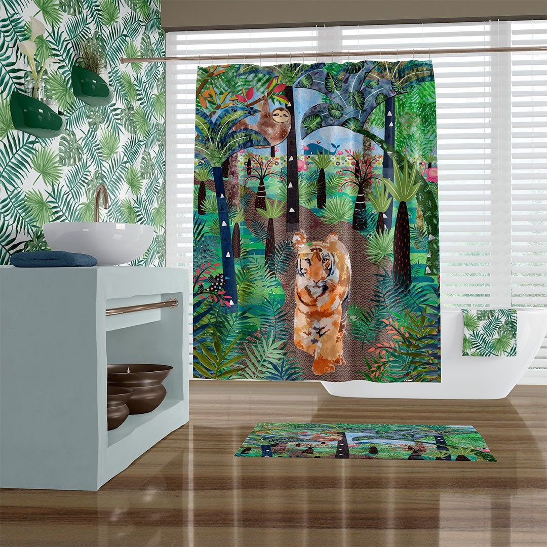 Childrens Bathroom Tropical Shower Curtain Watercolor Jungle