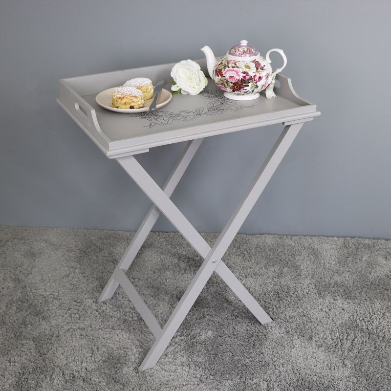 Awesome Grey Wooden Vintage Laurel Leaf Butleru0027s Tray Table Grey Free Standing  Wooden Butleru0027s Tray Table In
