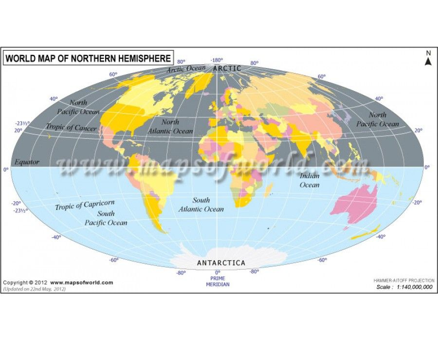 Buy World Map of Northern Hemisphere - best of world map poster time zones