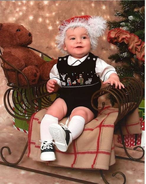 Thank you Carole Barnes for sharing this beautiful picture of your little  boy wearing our hand smocked Nativity outfit. - New Born Baby Boys Smocked Nativity Of Jesus Christmas Longall NB