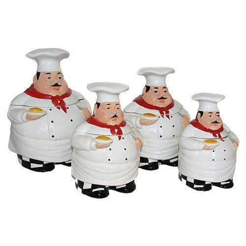 Bistro Fat Chef Canister Set Ceramic Kitchen Decor By
